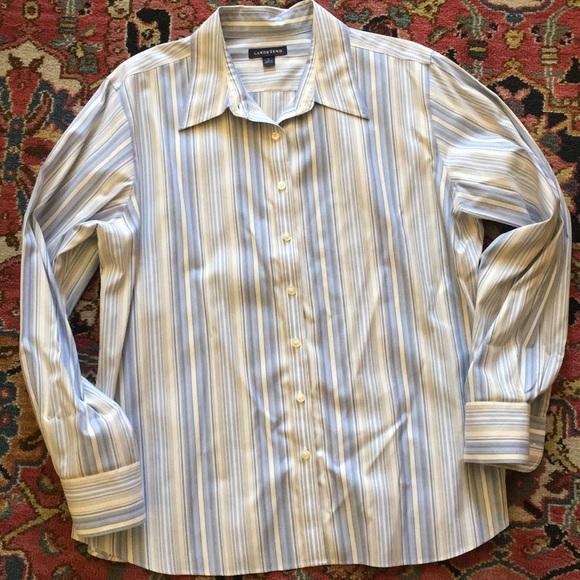 Lands' End Tops - Lands' End blue stripe blouse